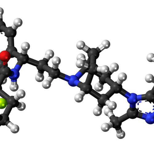 Image for Leading Change Maraviroc Case Study. Picture of stick and ball model of maraviroc molecule